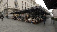 Outdoor restaurants on Prince Mihailo Street in Belgrade Stock Footage