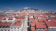 View from the Elevador de Santa Justa to the old part of Lisbon timelapse Stock Footage