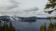 Time Lapse of Clouds Over Crater Lake National Park in Southern Oregon 1920x1080 Stock Footage