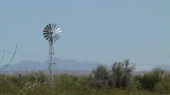 Ranch Windmill Spinning Stock Footage