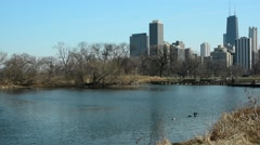 Lincoln Park Pan John Hancock Stock Footage