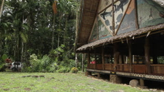 Hand Painted Murals on Traditional Men's Hut - PALAU Stock Footage
