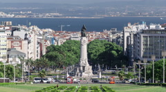 Eduardo VII park and gardens with monument in Lisbon, Portugal timelapse Stock Footage