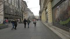 Men and women walking on Prince MIhailo Street in Belgrade Stock Footage
