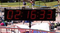 Sport clock or chronometer running in sport event Stock Footage