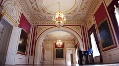 Gorgeous rooms and interiors of the Mikhailovsky Castle in St. Petersburg. 4k. Stock Footage