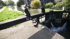English River lock  pan Stock Footage
