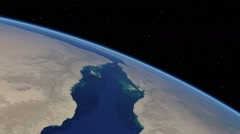 Orbital flyover of the Red Sea (cloudless) - stock footage