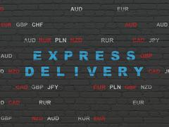 Stock Illustration of Business concept: Express Delivery on wall background