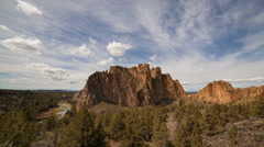Time Lapse of Clouds and Rock Climbing Over Smith Rock in Central Oregon 1080p Stock Footage