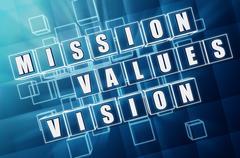 mission, values, vision in blue glass blocks - stock illustration