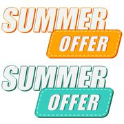 Summer offer, two colors labels Stock Illustration
