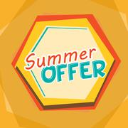 summer offer, yellow, orange and blue cartoon drawn label - stock illustration