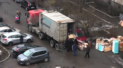 Workers unload items from the van. 4K. - stock footage