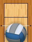 Vertical Volleyball and Volleyball Court Background Illustration - stock illustration