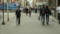 Crowd of people walking city street timelapse - stock footage
