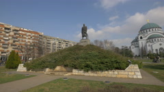 Monument to Karadjordje Petrovic in front of Saint Sava Temple Stock Footage