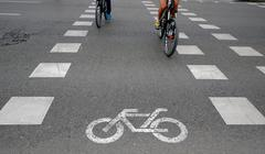 bikeway on the banks of the Manzanares river - stock photo