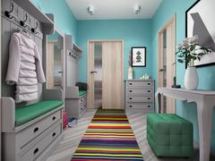 3d illustration of small apartments in pastel colors. Stock Illustration