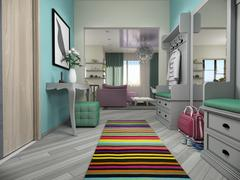 3d illustration of small apartments in pastel colors.Lobby and living room Stock Illustration