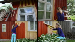 Stock Video Footage of People renew old country house. Painting wall in red. Collage