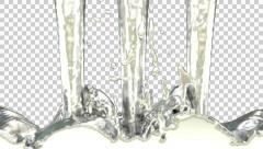 Animated pouring silver paint against transparent background 1080p Stock Footage