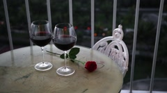 Romantic evening with red wine Stock Footage