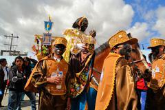 Mama Negra on a horse at traditional Latacunga festival Stock Photos