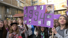 Group of Teenage girls and boys Justin Bieber fans in Belgrade Stock Footage