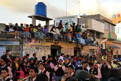 Onlookers are watching La Fiesta de la Mama Negra traditional festival Stock Photos