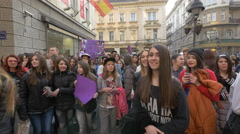 Justin Bieber's fans in Belgrade, Serbia Stock Footage