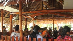 Local Community Gathering in Traditional House - PALAU Stock Footage