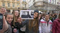 Justin Bieber's girl fans in Belgrade, Serbia Stock Footage