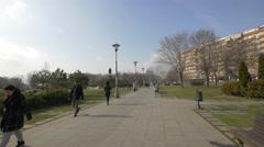 Walking in the Temple of Saint Sava park in Belgrade Stock Footage