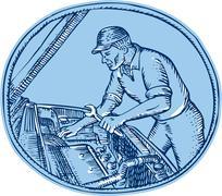 Auto Mechanic Automobile Car Repair Etching Stock Illustration