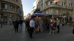 Shopping and walking on Prince Mihalio Street in Belgrade Stock Footage