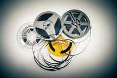 Heap of super 8 mm movie reels, old condition vintage effect Stock Photos