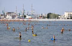 Crowded Municipal beach in Gdynia, Baltic sea, Poland - stock photo