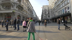 Walking in the Republic Square in Belgrade Stock Footage