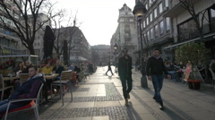 Visiting the Republic Square in Belgrade Stock Footage