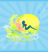 Tropical sexy girl silhouette Grunge Poster Stock Illustration