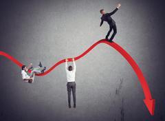 Businessmen falling down - stock illustration