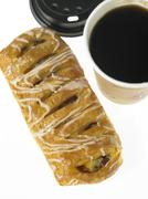 One cup of take out Coffee and one Danish Pastry Stock Photos