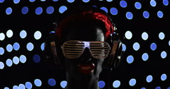 Red Head Gril Headphone Lights Face Disco Stock Footage