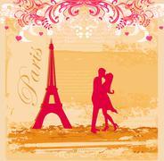 Romantic couple in Paris kissing near the Eiffel Tower. Retro card. Stock Illustration