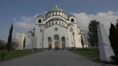 The facade of the Temple of Saint Sava in Belgrade Stock Footage