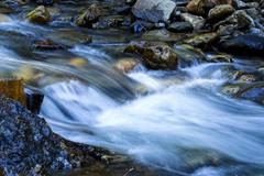 Long Exposure Small Stream Flowing Over Rocks - stock photo