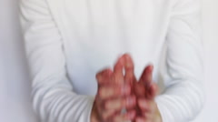 Man shows gestures and signs with his hands Stock Footage