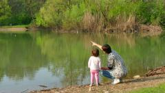 Nature Lake Pond Mother Mom Woman Family Girl Child Recreation - stock footage
