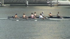 Rowing Crew on Hillsborough River Stock Footage